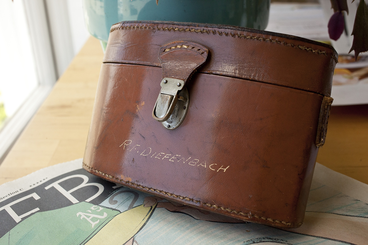 Grandfather's name inscribes in the leather case.