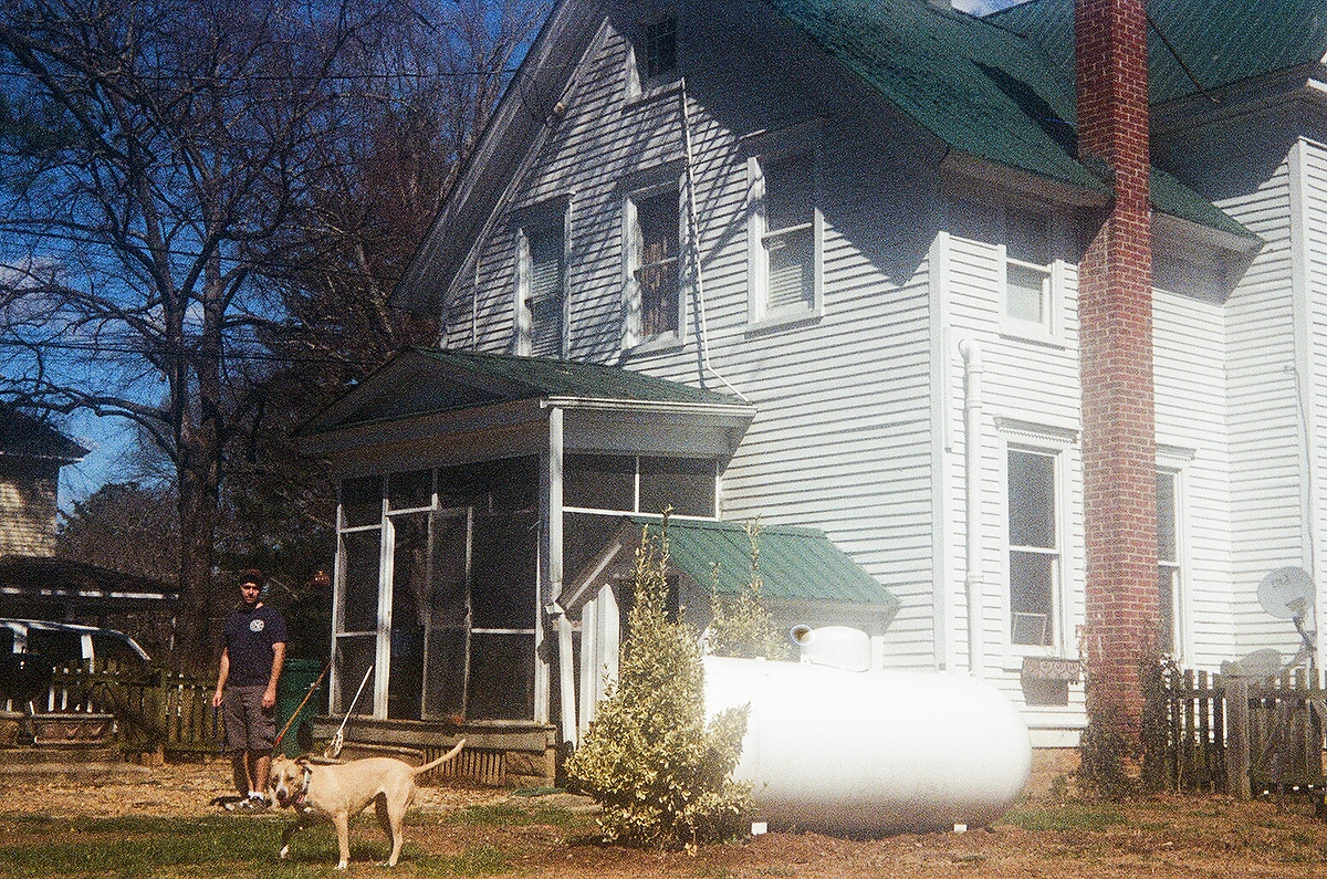 Ian with his dog, Hazel, outside of his former residence in Bowling Green, VA.