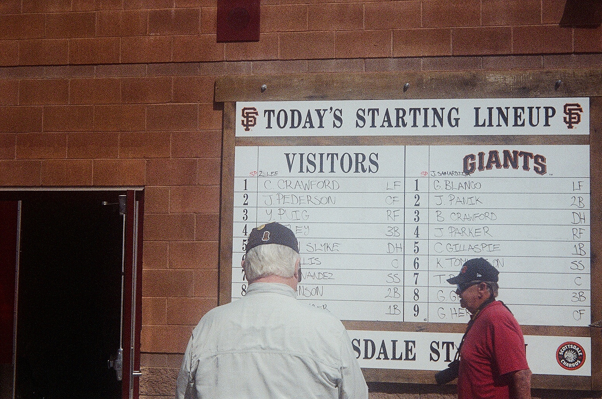 The lineup for the day's Spring Training game against the Los Angeles Dodgers.